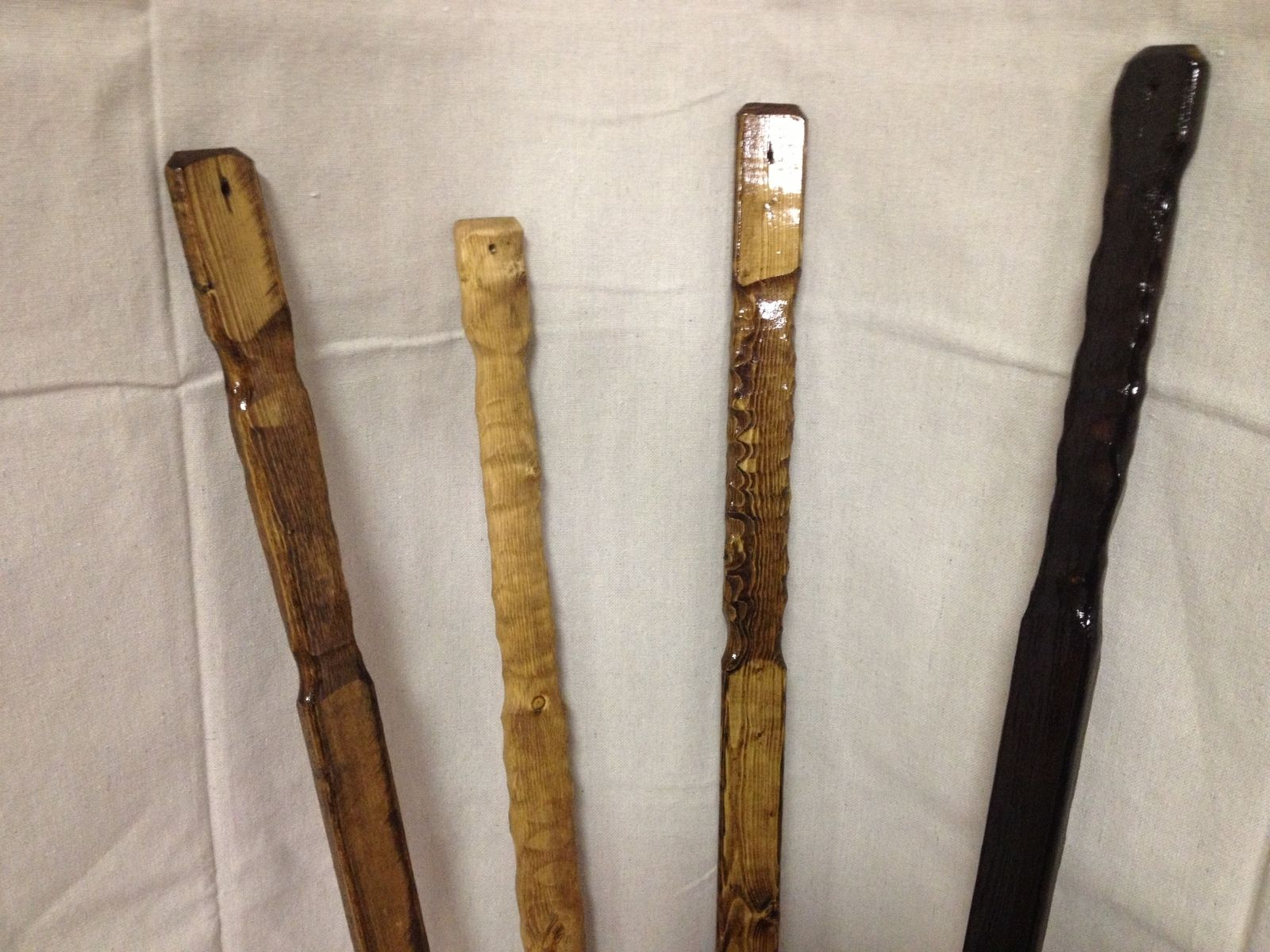 Wooden Walking Sticks ~ Custom flat wooden rustic hiking sticks by the