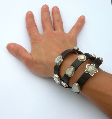Custom Made Leather Wrap Bracelet With Opaline And White Vintage Glass Crystal Embellishments