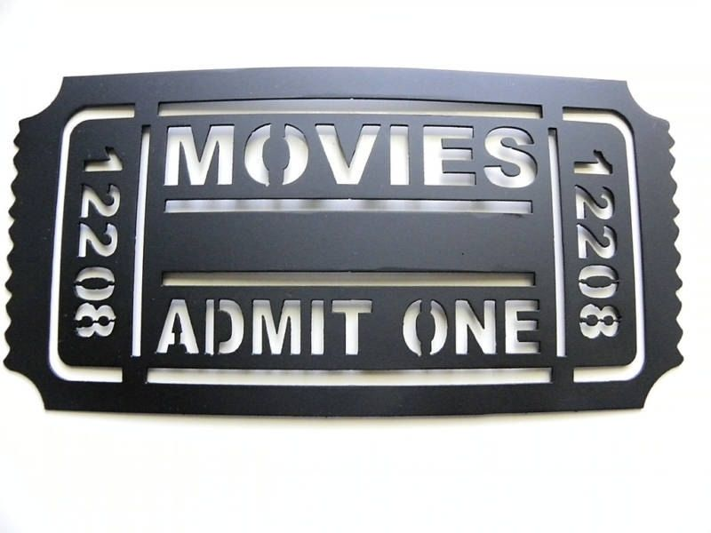 Hand Crafted Movie Ticket 2ft Home Theater Decor Movies Admit One ...