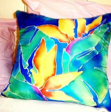 Custom Made Hand Painted  Tropical Floral Silk Pillow