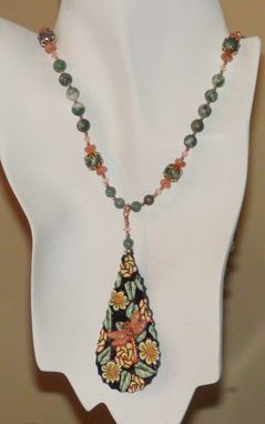 Custom Made Dragonfly Pendant Necklace With Ching Hai Jade, Sunstone & Swarovski Crystals