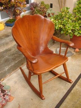 Custom Made Carved Shell Back Rocking Chair