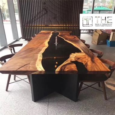 Custom Made Exotic Wood Epoxy Resin Dining Table