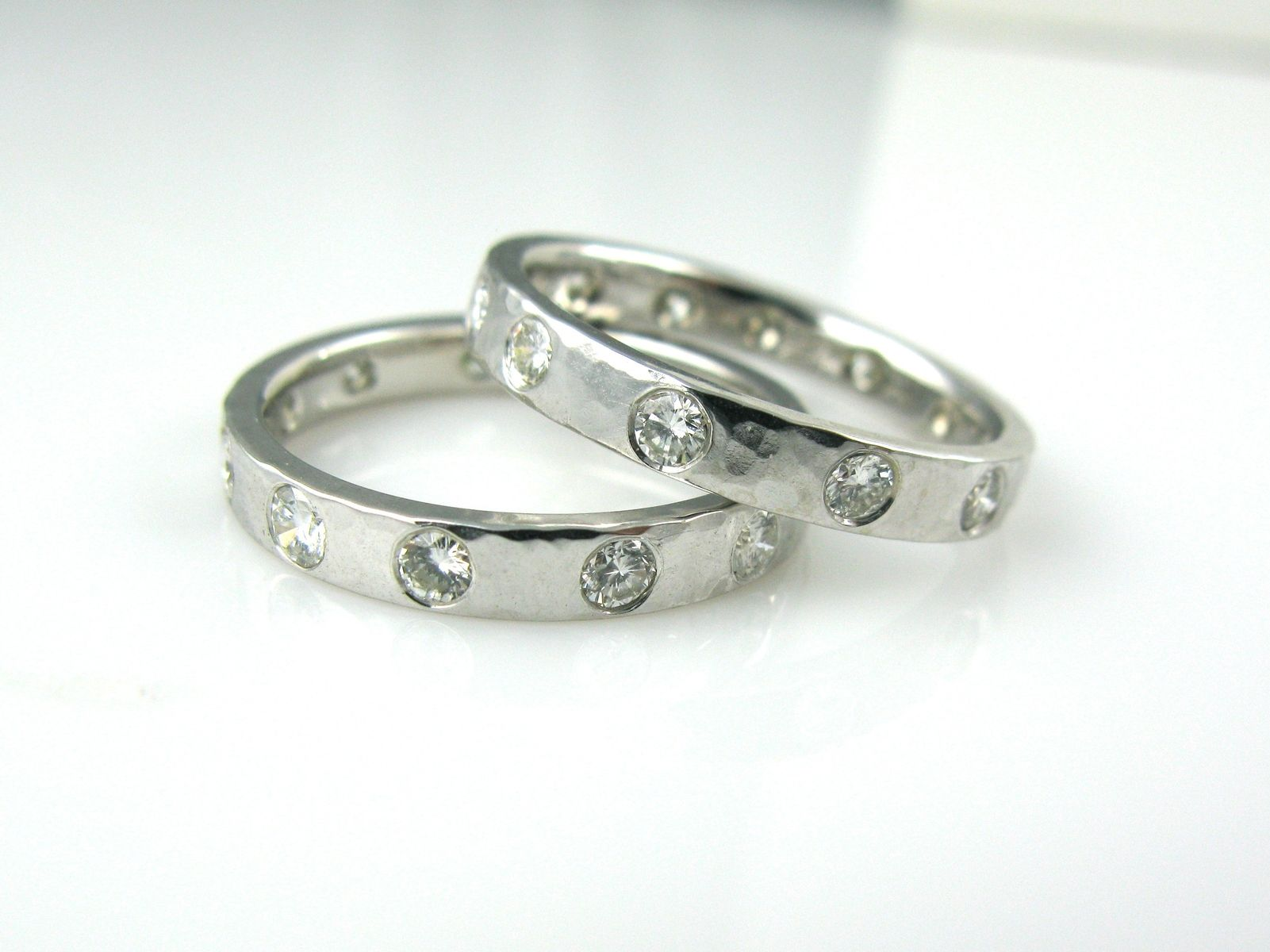 Hand Crafted Diamond And Gold Hammered Wedding BandsRing Guards