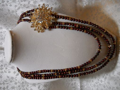 Custom Made Triple Strand Pearl Necklace With Star Embellishment