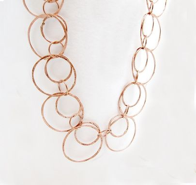 Custom Made Gold Loop Necklace - Long Gold Chain - Long Necklace - Hammered Brass Faux Gold