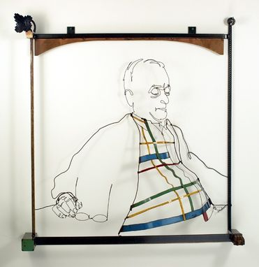 Custom Made Wall Mounted Wire Sculpture Portrait Of Man