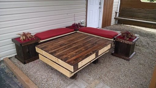 Custom Made Pallet Planter Box L Bench And Patio Table
