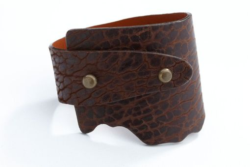 Custom Made Genuine Bison Leather Wide-Wrap Bracelet In Chocolate (Brown)