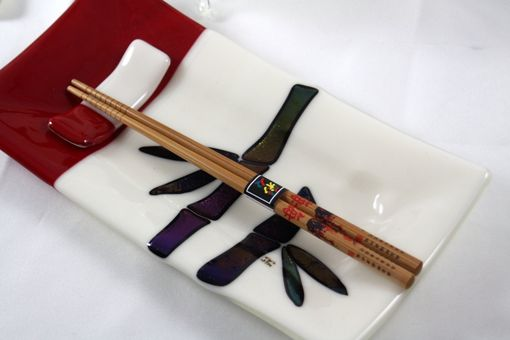 Custom Made 8-Piece Fused Glass Sushi Set With Bamboo Design