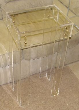 Custom Made Acrylic Side / End Table Brass Button Connectors On Corners - Hand Crafted, Custom Made