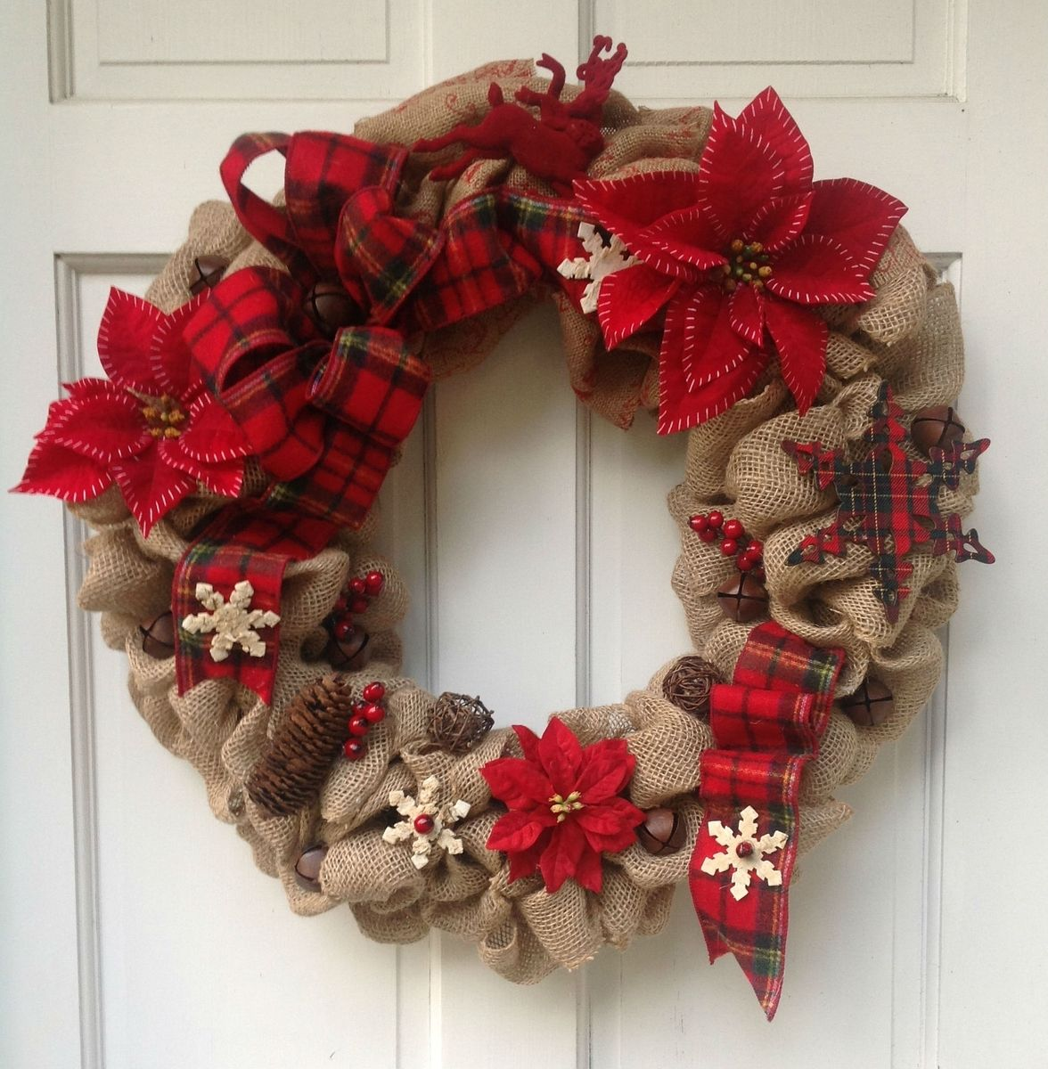Hand made custom made silk floral rustic burlap christmas for Burlap wreath with lights