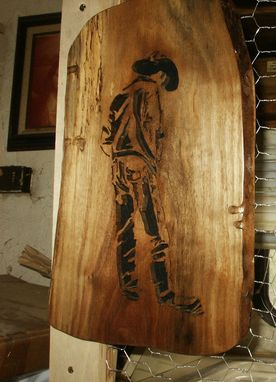 Custom Made Lonesome Cowboy Woodcraving On A Slab Of Spalted Walnut