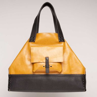 Custom Made Leather Tote Bag - Fully Lined: Golden Yellow With Black Contrast