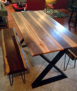 "Custom Made Dining Table Made From Walnut And Hickory To Create A ""Racing Stripe"" Look."