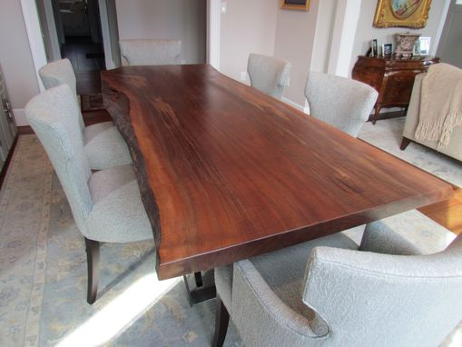 Custom Made Clairo Walnut Dining Table With Brushed Steel Base