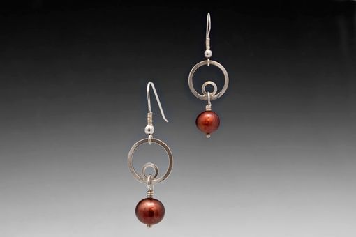 Custom Made Circle Dangles, Burgundy Pearl