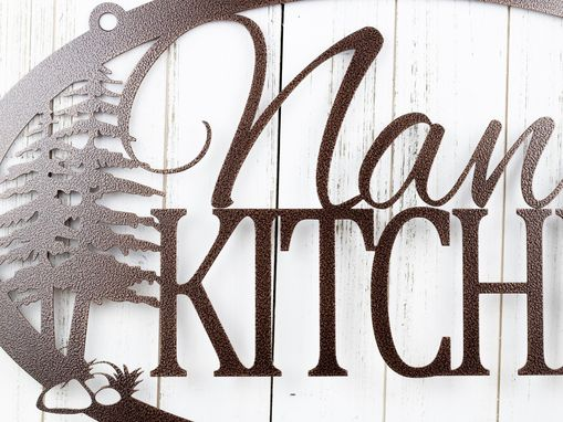 Custom Made Custom Name Kitchen Metal Sign, Pine Trees - Copper Vein Shown