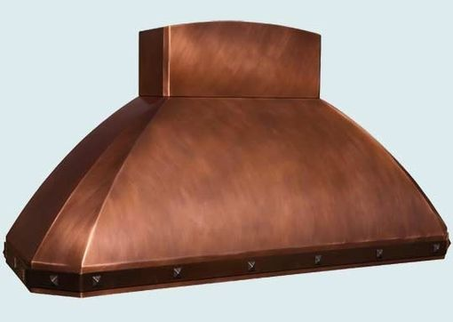 Custom Made Copper Range Hood With Curved Stack & Brass Strap