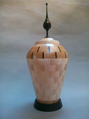 Custom Made Maple With Cherry Accent Rings And Ebony Spacers Segmented Decorative Hollow Form Vase