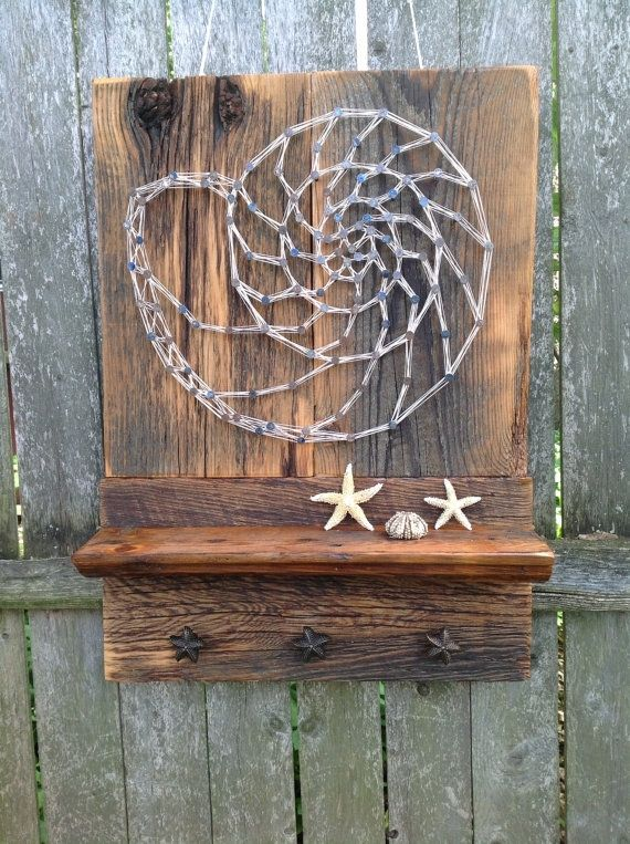 Custom Made Reclaimed Wood Shelf With Featured Nautilus String Art Rustic Home Decor