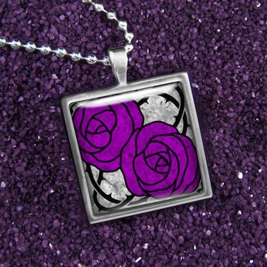 Custom Made Purple Art Nouveau Rose & Barb Wire Sterling Silver Necklace 171-Ssn