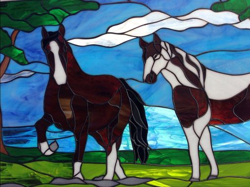 Custom Made Beautiful Horses/Stallions Stained Glass Window