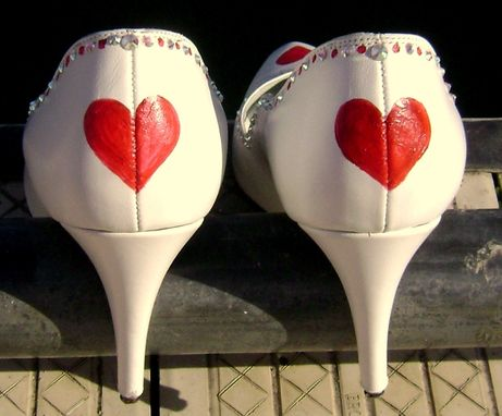 Custom Made Custom Decorated Bridal Special Ocassion Shoes - Hand Painted And Swarovski Crystals
