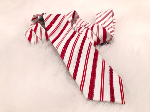 Custom Made Candy Cane Stripe Swarovski Crystal Men's Tie Bling Red White Bedazzled Christmas Necktie