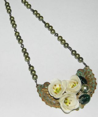 Custom Made Shabby Camelia Necklace - Ooak - Assemblage/Collage