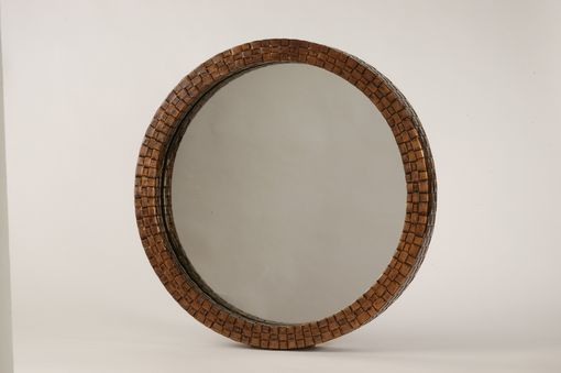 Custom Made Round Copper Hand Weaved Mirror (Box Style)