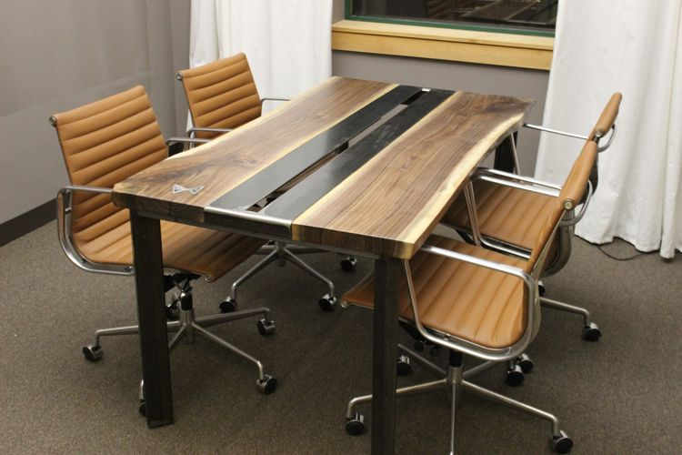 Hand Made Live Edge Walnut Conference Table By K Modern Design - Modern industrial conference table