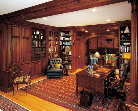 Handmade Walnut Library With Fireplace And Gun Cabinets By