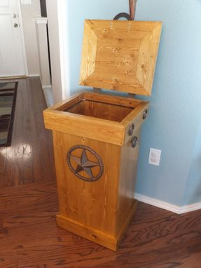 Custom Made Rustic Wood Trash Can