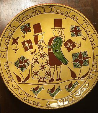Custom Made Wedding Couple Redware Plate - Pennsylvania German Folk Art Pottery