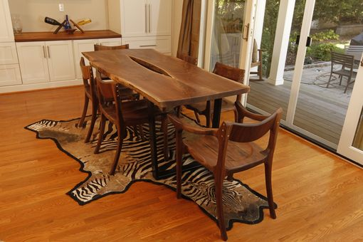 Custom Made Live-Edge Walnut & Carbon Fiber Dining Table