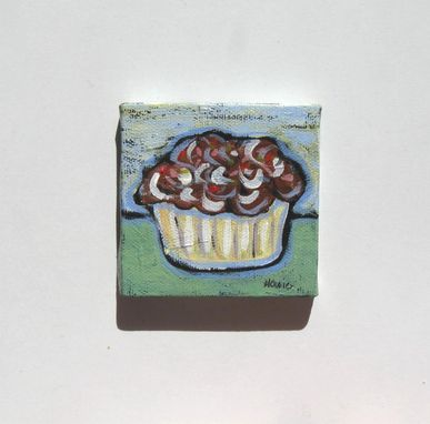 Custom Made Acrylic Cupcake Painting Original Still Life Mini Canvas With Easel