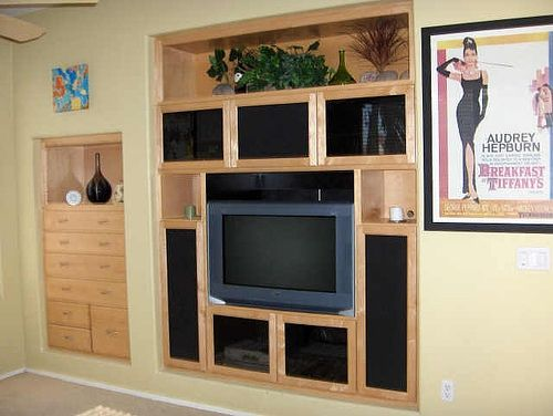 Hand Crafted Built In Entertainment Center By Natural