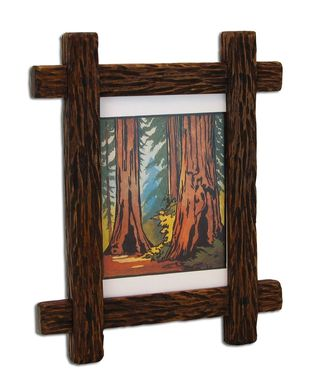 Custom Made Carved Adirondack Rustic Picture Frame