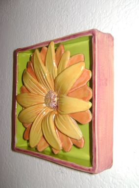 Custom Made Yellow Daisy Flower Box, Ceramic Wall Hanging