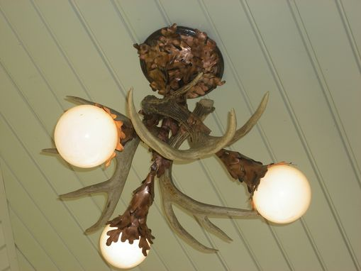 Custom Made Oak And Antler Chandelier