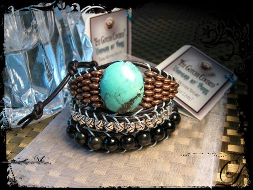 "Custom Made Black Leather Triple Wrap ""Turquoise"" Bracelet"