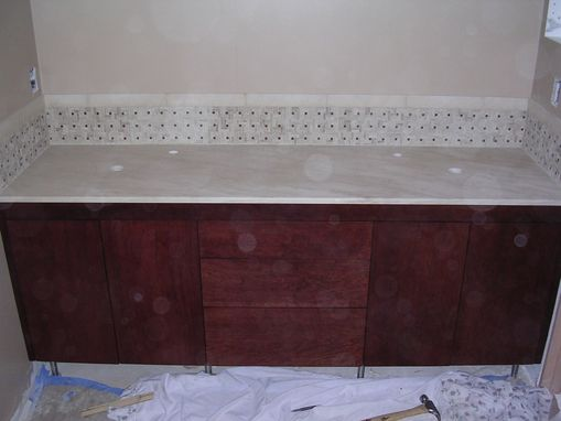 Custom Made Cherry Wood Flush Faced Bathroom Vanity