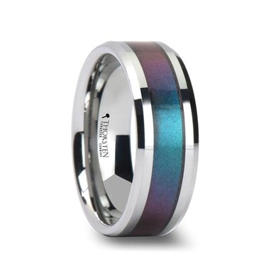 Custom Made Stingray Tungsten Carbide Ring With Blue/Purple Color Changing Inlay - 4mm - 10mm