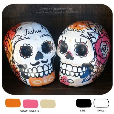 Custom Made Custom Paper Mache Skulls Day Of The Dead Wedding Cake Toppers