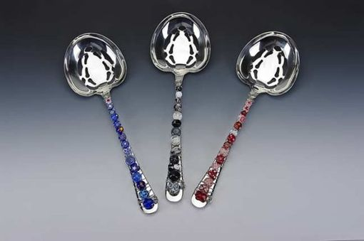 Custom Made Hand Beaded Slotted Vegetable/ Berry Spoon