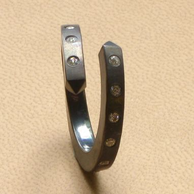Custom Made Sterling Silver Oxidized Cleopatra's Needle Overlapping Ring With Czs By Cristina Hurley