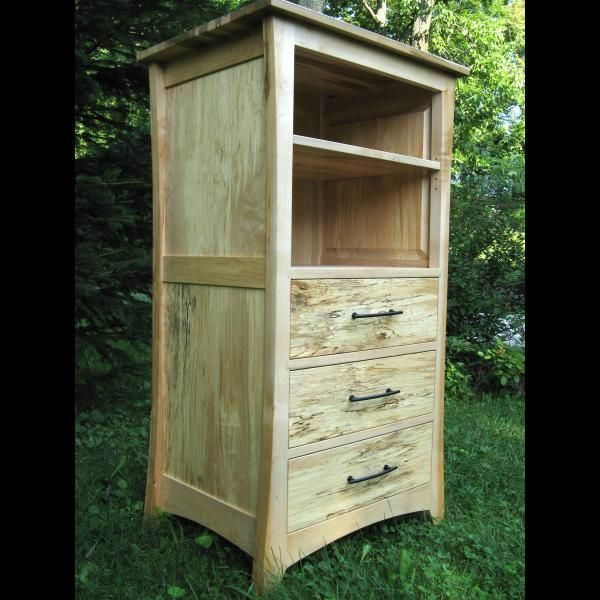 Hand Crafted Hand Made Solid Wood Spalted Maple Cabinet Media