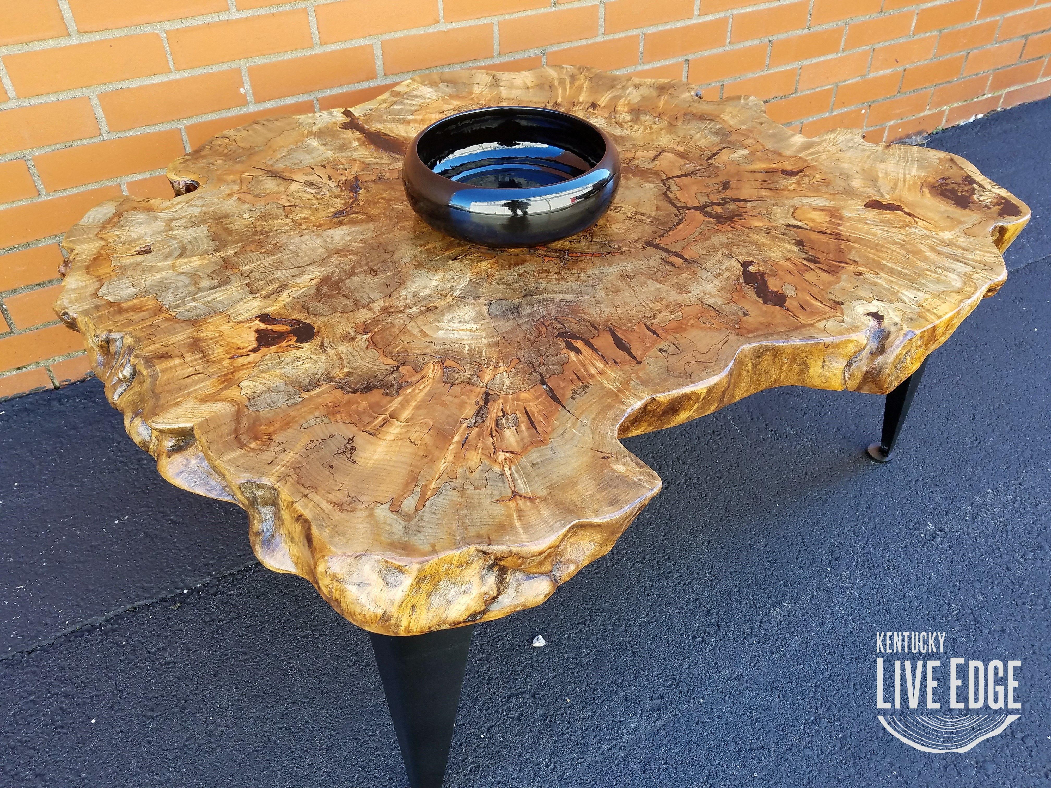 Custom Made Coffee Table Live Edge Oyster Shape Tree Stump
