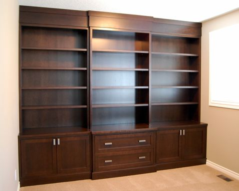 Custom Made Maple With Cherry Stain Built In Bookcases